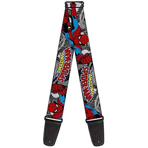 Buckle-Down Alça de guitarra – The Amazing Spider-MAN Stacked Comic Books/Action Poses – 5 cm de largura – 73 cm a 137 cm de comprimento