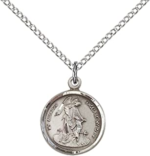F A Dumont Sterling Silver Guardian Angel Pendant with 18