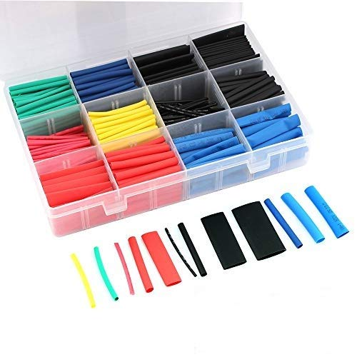 Eiechip Heat Shrink Tubing Heat Shrink Tubing kit with Box,for Charging Cable Data Cable Wire Repair Best Cable Sleeve Tube Assortment with Storage Case 560 pcs 5clors 12 Size 2:1