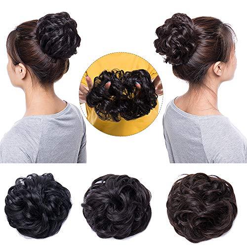 Chignon Capelli Finti Extension Elastico Posticci per Scrunchie Coda Capelli Mossi Ciambella per Chignon Hair Bun Updo–Nero Scuro