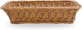 Natural Wicker Bread Basket Storage Hamper Display Tray, Rectangle Imitation Rattan Food Serving Tray Fruit Snacks Container Table Decoration (35x25x7cm)