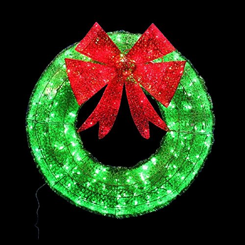 36 In. Diameter Christmas Holiday Green Tinsel Wreath with Twinkling Led Lights for Indoor and Outdoor Use