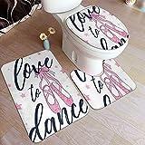 GUVICINIR Alfombrillas de baño Set 3 Piezas,Chica Blanca le Encanta Bailar y Bailarina, Zapatos con Purpurina Rosa, Lema gráfico Lindo, caligrafía de Conejito, Belleza Fresca,Alfombra de Piso