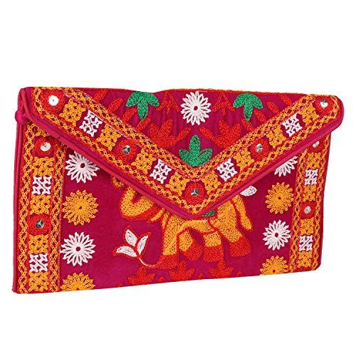 Suman Enterprises Ethnic Gestickte Hadmade Banjara Foldover Clutch Handtasche Umhängetasche, (Pinkes Elefanten-Design), Medium