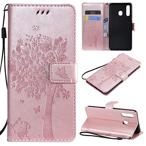 nancencen Hülle Kompatibel mit Samsung Galaxy A8S, Flip-Hülle Handytasche - Standfunktion Brieftasche & Kartenfächern - Baum & Katze - Rose Gold