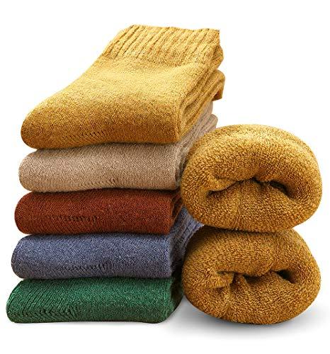 MOSOTECH 5 Paar Damen Socken, Dicke Thermosocken Warme Wintersocken Frauen Wollsocken/Bunte Stricksocken Damen Mädchen Tägliche Abnutzung/Gemütlich Atmungsaktiv/Größe 35-41