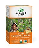 Organic India Tulsi Turmeric Ginger Herbal Tea - Stress Relieving & Harmonizing, Immune Support, Healthy Inflammatory Response, Aids Digestion, Vegan, Caffeine-Free - 18 Infusion Bags, 1 Pack