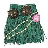 Islander Hawaiian Hula Grass Skirt Set Coconut Bikini Top Green 20 inch Waist 16 inch Long
