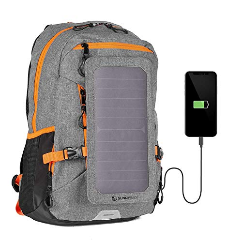 SunnyBAG Explorer+ Solar Backpack | World's Strongest Solar Panel for Charging Smartphones and All USB-Devices on The go | 15l Volume and 15'' Laptop Compartment (Grey Orange)