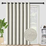 ALLJOY Extra Wide Sliding Glass Door Curtains for Room Divider, Wide Thermal Blackout Patio Door Curtain Panel Grommet Room Darkening Thermal Insulated Window Drapes, W100 xL84 Inch, Cloud Grey