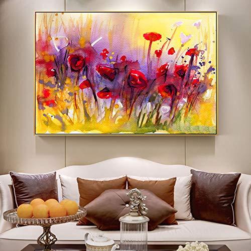 Puzzle 1000 Piezas Acuarela Flor de Amapola Arte Pintura Pintura Flor Abstracta Imagen Puzzle 1000 Piezas Animales Juego de Habilidad para Toda la Familia, Colorido Juego de u50x75cm(20x30inch)