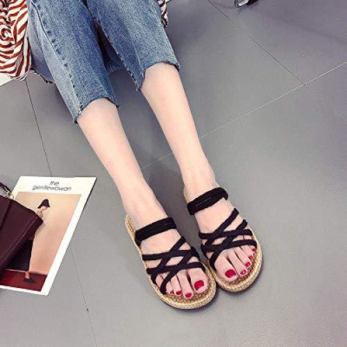 RSVT Semelle Souple Chaussures De Piscine Maison,Sandales en Paille tissée à Fond Plat Tout Assorties avec laçage croisé et Tongs-Noir_36
