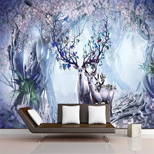 Vintage Elch TV Sofa Hintergrund Wandmalerei große grüne Seide Stofftapete Anpassbare Größe