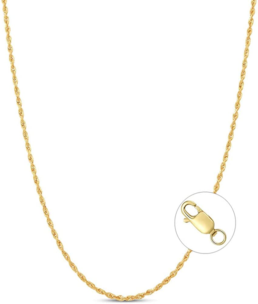 14k Real Solid Yellow Gold Chain Necklace for Women Braided Wheat Chain, Rope Chain, Box Link Chain with Lobster Claw Clasp 16