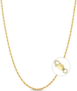 """Blocaci 14K Solid Yellow Gold 1.5mm Rope Chain Necklace for Women Lobster Clasp 16""""-20"""""""