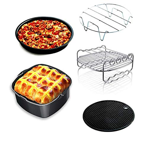 5-7 Inch Air Fryer Accessoires, Inclusief Cake Bucket/Pizza Pot/Metal Bracket/Grill/Silicone Pad, 5 Sets in All Fryers (3.2QT-5.8QT)