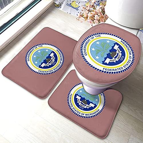 DJNGN Föderierte Staaten von Mikronesien Flagge Badezimmer Antirutsch-Set 3-teilige Antirutsch-Pads Badewanne Dusche Badezimmer-Matten-Set Maschinenwaschbare Matte + Kontur + Toilettendeckel-Abdeckung
