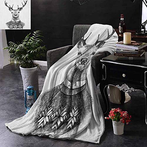 ZSUO bank deken hand getrokken hert portret in een Scandinavische stijl gebreide trui Hipster kerst Cozy hypoallergeen, gemakkelijk te dragen deken