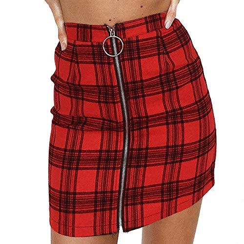 OverDose Boutique Röcke Damen Mode Kariert Verband Wildleder Stoff A-Linie Rock Nahtlose Stretch Engen Kurzen Reißverschluss Mini Rock für Frauen