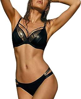 Women Two Piece Swimwear Push-up ❀ Ladies Sexy Padded Bikini Set Clearance Sale ! Female Fashion Solid Swimsuit On Sale (Black, L)