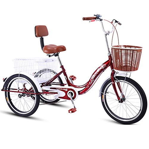 SN Erwachsene Trike Dreirad Mit DREI Rädern Senioren 20 Zoll Einstellbar Manpower Fahrrad Mit Doppelbremssystem Und Fracht Einkaufen Übungskorb (Color : Red, Size : 20inch)