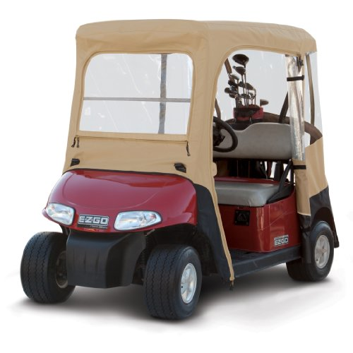 Classic Accessories Fairway Deluxe 4-Sided 2-Person Golf Cart Enclosure For E-Z-Go, Tan