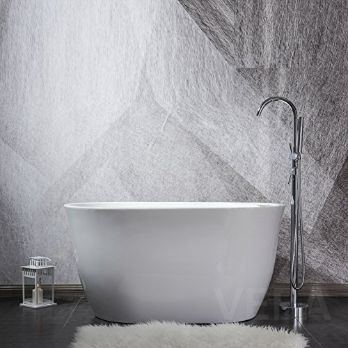 47 inch Acrylic Freestanding Tub, cUPC Certificated, Mini Free Standing Bathtub with Overflow, Side Drain and Hose for Soaking SPA, High Glossy White