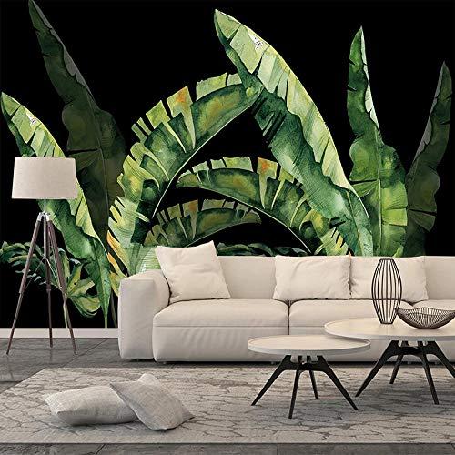AMTTGOYY Papel tapiz fotográfico 3D planta hojas verdes fondo decorativo negro pintura de pared sala de estar restaurante dormitorio pared mural-300x210cm