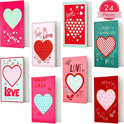 Outus 24 Stücke Valentinstagskarten, Herz Grußkarte, Valentinstag Geschenk Liebeskarte für Mann, Freund, ihn, Frau, Freundin, Sie