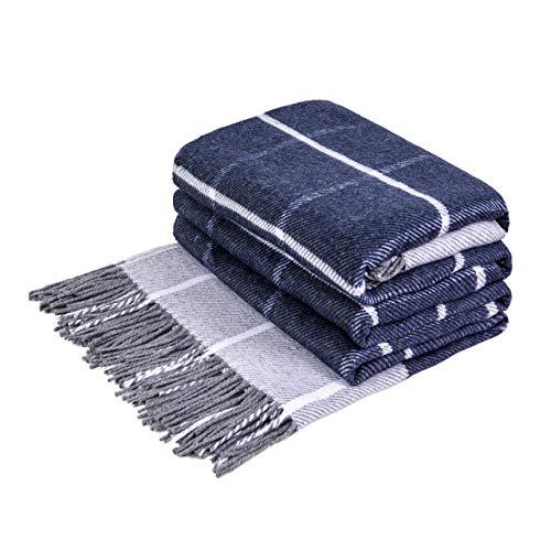 LoveYouHome Quadrate Baumwolle Decke-Kuscheldecke Extra groß Überwurf (140 cm X 200 cm - Weiß-Blau)