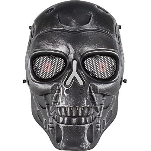AQzxdc Máscara Protectora contra el Polvo de Calavera para Hombres, máscaras con Gafas de Malla de Metal, máscara Facial Airsoft Paintball, para Halloween CS Game,Silver Gray