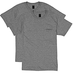 Short-sleeve t-shirt featuring pocket at chest and crew neckline Double-needle stitching on sleeves and hem for durability Lay flat collar for shape retention after washing Non-chafe fabric taping reinforces neck and shoulders Full cut for roomier fi...