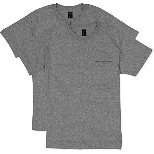 Hanes Men's 2 Pack Short Sleeve Pocket Beefy-t, Charcoal Heather, XL