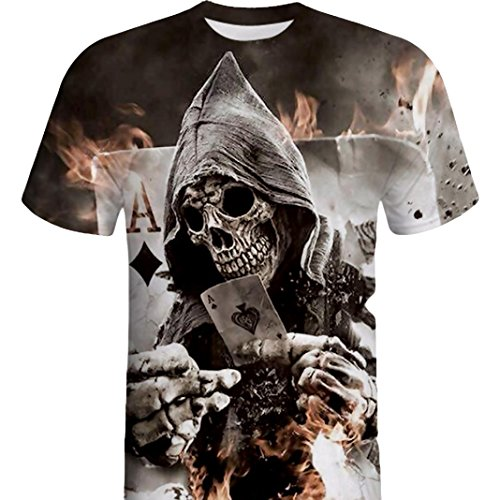 iYYVV Mens T-Shirt Skull 3D Skull Tops Printing Tees Shirt Short Sleeve (Black, Large)