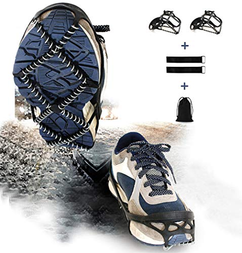 PSQ Ice Cleats, Walk Traction Cleats with a Pair of Velcro Straps and a Storage Bag (Middle)