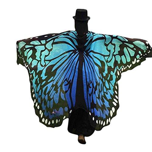 FNKDOR Fasching Kostüm Schmetterling Damen Mädchen Flügel Fee Nymphe Elfen Flügel (197 * 125CM, Blau-B)