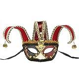 BLEVET Retro Veneciano Máscara para Carnaval Mardi Gras Halloween MZ063 (Red)