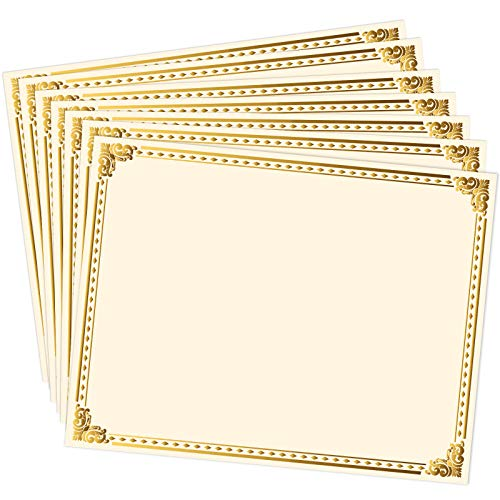Chinco 50 Sheets Certificate Paper Gold Foil Metallic Border Blank Award Certificate for Recognition Appreciation, Laser and Inkjet Printer Compatible, 11 x 8.5 Inches (Off-White)