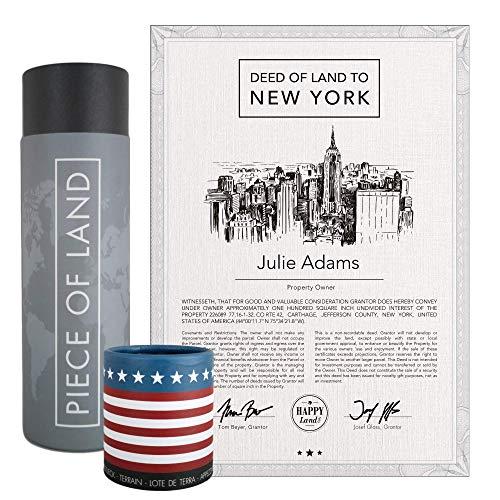 happylandgifts® Echtes New York Grundstück als einzigartiges Geschenk für New York und USA Fans | Personalisierte Besitzurkunde mit Wunschname | New York Geschenke | Geburtstagsgeschenke