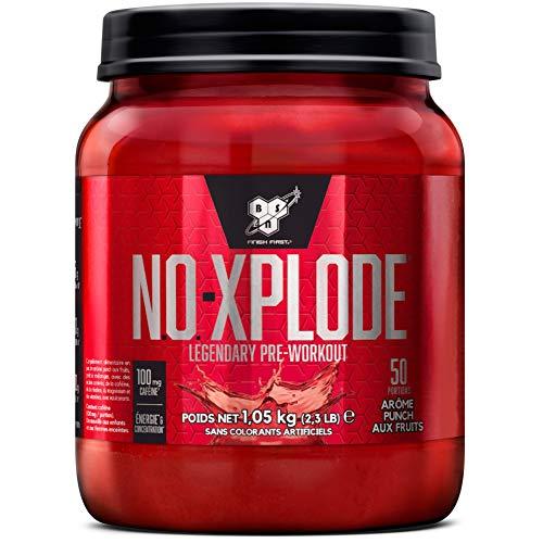 BSN Nutrition N.O.-Xplode Pre Workout, Booster de Pre Workout avec Créatine Monohydrate, Vitamine D, Vitamine B Complex, Acide Folique et Caféine, Saveur Cocktail de Fruits, 50 Portions, 1,05kg