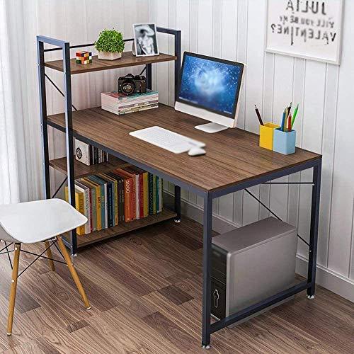 Familia con mesa de ordenador con bastidores de almacenamiento, banco de madera, oficina de la escuela, hogar escritorio de oficina con un escritorio de la computadora,Brown