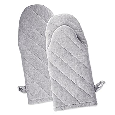 DII Cotton Chambray Oven Mitts, 13x6 Set of 2, Machine Washable and Heat Resistant for Kitchen Cooking and Baking-Gray