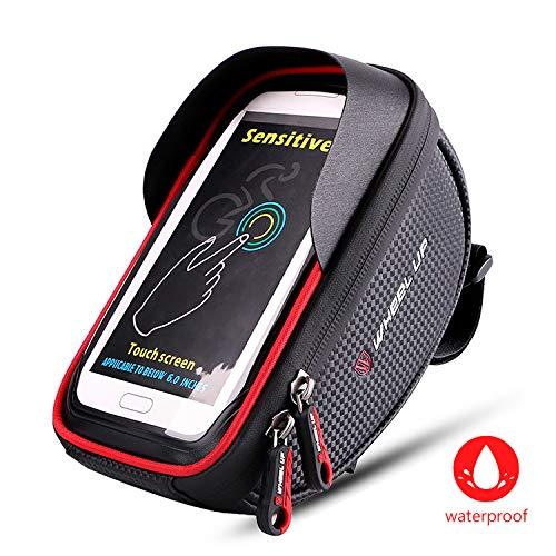 Fahrrad Rahmentasche Wasserdicht,Fahrradtasche Oberrohrtasche Fahrrad Handyhalterung Handy Tasche Lenkertasche für iPhone X MAX XR XS 8 7 Plus/6s Plus/6 Plus/Samsung s7 edge bis zu 6,5 Zoll Smartphone