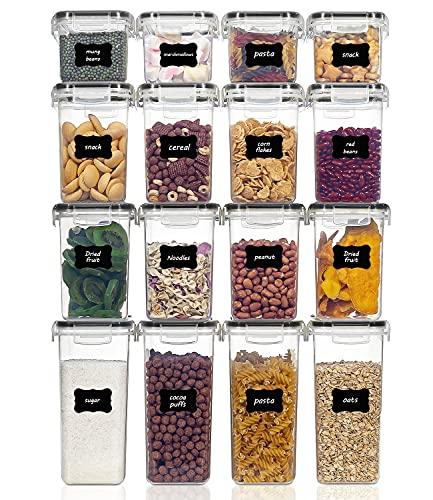 Vtopmart 16 Stück Vorratsdosen Set,Müsli Schüttdose & Frischhaltedosen, BPA frei Kunststoff Vorratsdosen luftdicht, 24 Etiketten für Getreide, Mehl, Zucker (Schwarz)
