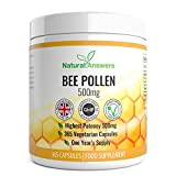 Bee Pollen 500mg 365 Vegetarian Capsules UK Manufactured by Natural Answers