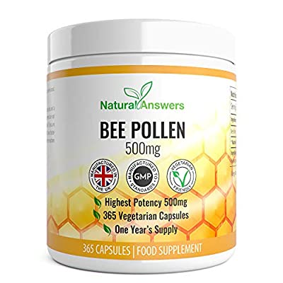 Bee Pollen 500mg | 365 Vegetarian Capsules | Highest Quality Pure Bee Pollen | Energy Booster Vitamins A & B Complex | Improves Efficiency of Immune & Nervous System | Zinc and Magnesium | UK Made