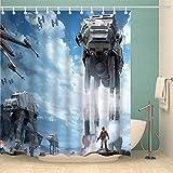 Youni Duschvorhang Star Galaxy War Weltraum Blauer Himmel Sturmtruppen Duschvorhang Panel 183 x 183 cm Polyester wasserdichter Stoff 12er-Pack Duschhaken aus Kunststoff enthalten