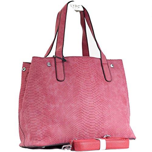 Max Mon HENKEL Handtasche mit Schulterriemen (33cm lang - 13cm breit - 26cm hoch, Rot)