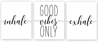 "Chsdec Unframed Good Vibes Only Inhale Exhale Quote&Saying Motivational Minimalist Art Print Inspirational Home Wall Photos,Black and White Words ,Canvas Office Decorations- Set of 3 Posters 8""x10"""