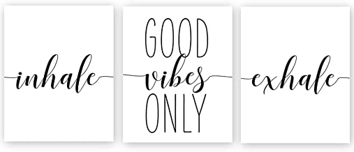 Chsdec Unframed Good Vibes Only Inhale Exhale Quote&Saying Motivational Minimalist Art Print Inspirational Home Wall Photos,Black and White Words ,Canvas Office Decorations- Set of 3 Posters 8